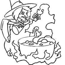 Desenho de uma bruxa preparando uma poção mágica para colorir