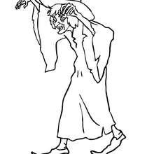 Desenho de uma bruxa amaldiçoando alguém para colorir