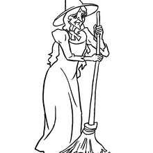 Desenho de uma bruxa varrendo restos de ingredientes bizarros para colorir
