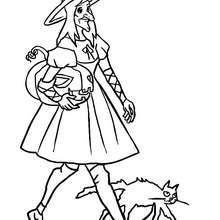 Desenho de uma bruxa com um gato preto e uma abóbora para colorir