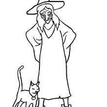 Desenho de uma bruxa com um gato preto para colorir