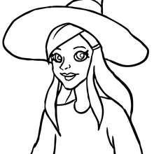 Retrato de uma jovem Bruxa para colorir