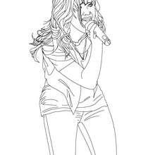 Desenho da Demi Lovato cantando  para colorir