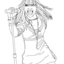 Desenho da Demi Lovato no palco para colorir