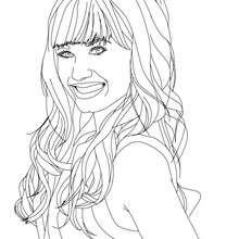 Retrato da Demi Lovato sorrindo para colorir