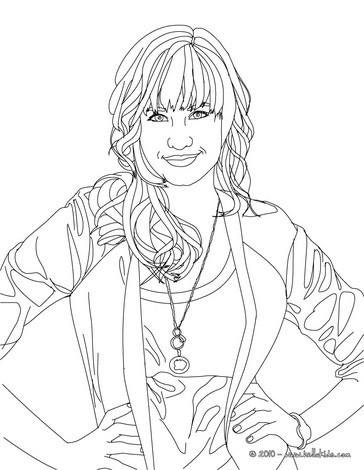 Desenho da Demi Lovato posando para colorir