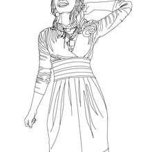 Desenho da Demi Lovato feliz para colorir