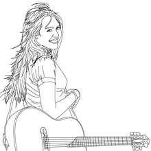 violão, Desenho da Miley Cyrus com uma guitarra para colorir