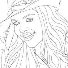 Desenho para colorir online da Selena Gomez com um chapél