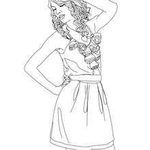 Desenho da famosa cantora e compositora Taylor Swift para colorir