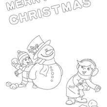 Cartaz de Natal com um boneco de neve para colorir
