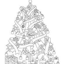 Desenho de uma Árvore de Natal brilhante para colorir