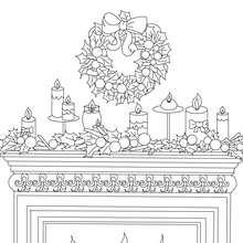 Desenho de uma grinalda de Natal, e de velas na lareira para colorir