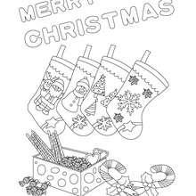 Cartaz de Natal com meias para colorir