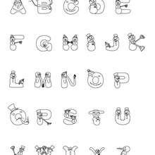 Letras do alfabeto com motivo de boneco de neve para colorir