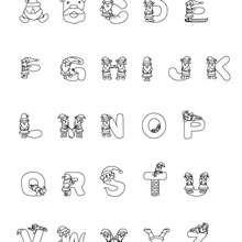 Letras do alfabeto com motivo do Papai Noel para colorir