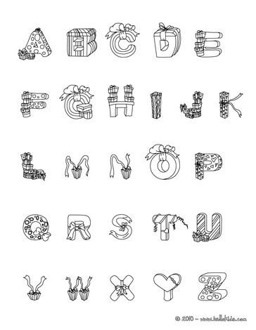 Letras do alfabeto com motivos de presentes de Natal para colorir