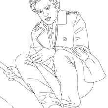 Desenho do Robert Pattinson agachado para colorir