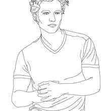 Desenho do Robert Pattinson de camiseta para colorir