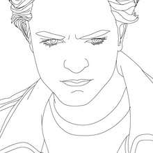 Desenho do Robert Pattinson sério para colorir