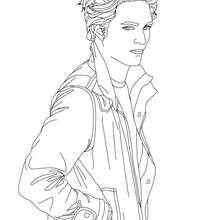 Desenho do Robert Pattinson com as mãos nos bolsos para colorir