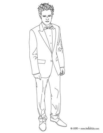 Desenho do lindo Robert Pattinson de terno para colorir