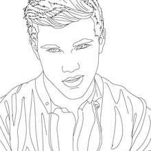 Desenho do pensativo Taylor Lautner  para colorir