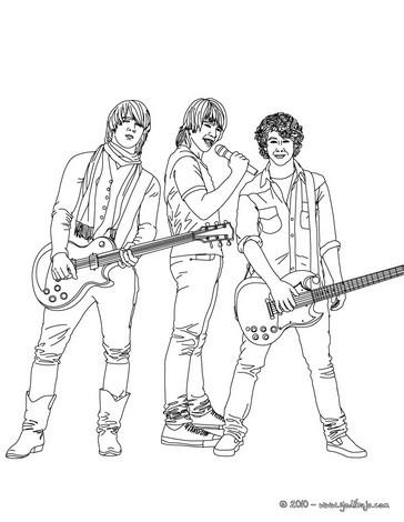 desenhos para colorir de desenho dos jonas brothers com suas