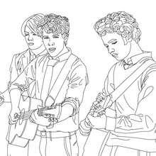violão, Desenho para colorir dos Jonas Brothers tocando