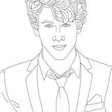 desenhos para colorir de desenho do nick jonas de gravata para
