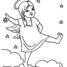 Desenho de um anjo natalino no céu para colorir