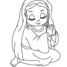 Desenho da Virgem Maria sentada para colorir