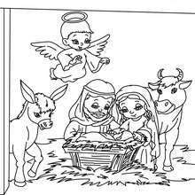 Desenho da nascença do menino Jesus para colorir