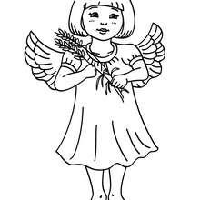 Desenho de um anjinho com um ramo de azevinho para colorir