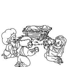 Desenho dos Reis Magos com o menino Jesus para colorir