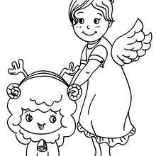 Desenho de um anjinho com uma ovelha para colorir
