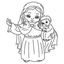 Desenho da Virgem Maria com seu filho Jesus para colorir