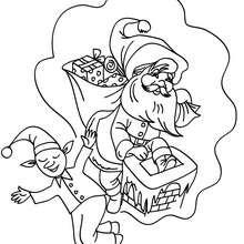 Desenho de um Duende do Natal sonhando para colorir