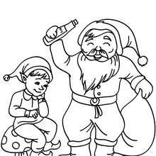Desenho de um lindo Duende com o Papai Noel para colorir