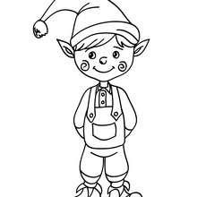 Desenho de um lindo Duende do Papai Noel para colorir