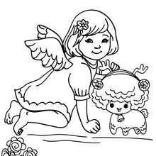 Desenho de um anjinho com um animal para colorir