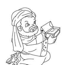 Desenho do Gaspar dando um presente para o menino Jesus para colorir