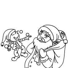 Desenho do Papai Noel com um de seus ajudantes Elfos para colorir
