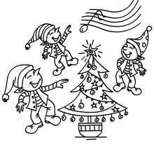 Desenho dos Elfos do Papai Noel dançando para colorir online