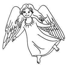 Desenho de um anjinho com grandes asas para colorir