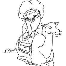 Desenho do Melquior no seu camelo para colorir