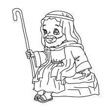Desenho do São José sentado para colorir