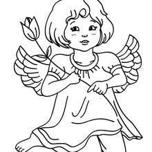 Desenho de um anjo natalino com uma flore para colorir