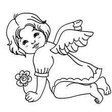 Desenho do arcanjo Gabriel com uma flor para colorir