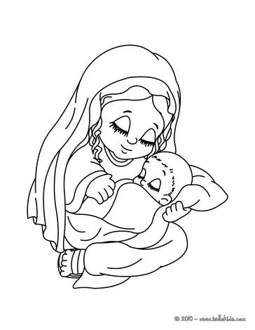 Desenho do Jesus com sua mãe, a Virgem Maria para colorir